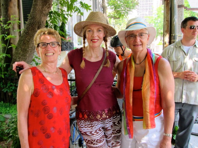 Trelawny Howell (centre) at the World Pride Parade with the Hon. Kathleen Wynne (left), premier of Ontario, and her partner Jane (right).