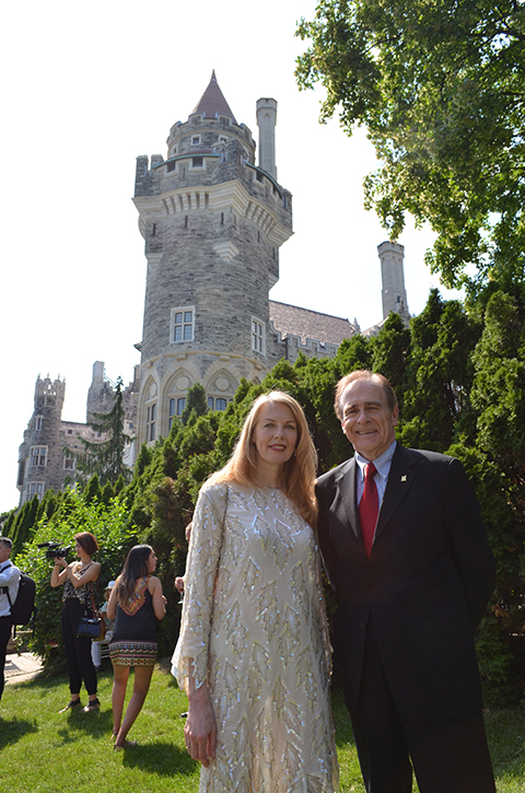 Trelawny Howell (left) with Toronto Deputy Mayor Norm Kelly at the World Pride mass wedding held at Casa Loma on June 26, 2014.